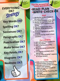 Checklist for exam strategy presented as a bookmark