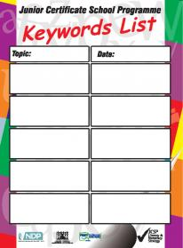 Laminated keyword poster for classroom use A2