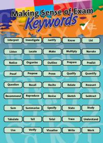 Making sense of exam Keywords laminated A4 sheet